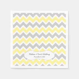 Yellow Gray Chevron Decor / your own wording