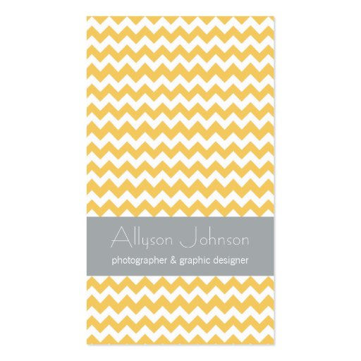 Yellow & Gray Chevron Design Business Cards