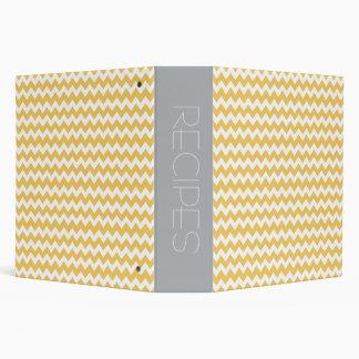 Yellow & Gray Chevron Design Recipe Binder