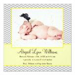 Yellow Gray Chevron Girl Photo Birth Announcement