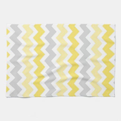 yellow gray chevron kitchen cloth towel zazzle. Black Bedroom Furniture Sets. Home Design Ideas