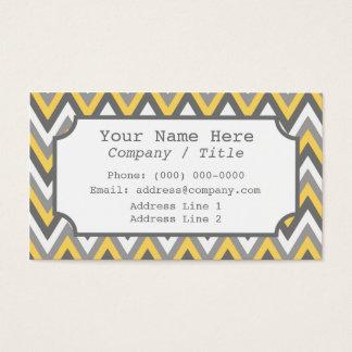 Yellow Gray Chevron Label Business Card