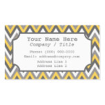 Yellow Gray Chevron Label Business Card