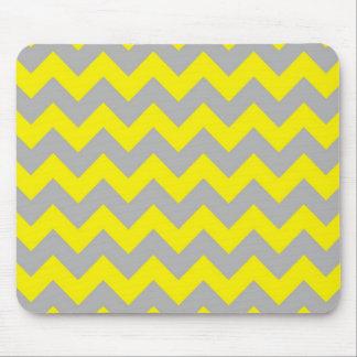 Yellow gray chevron pattern mousepad