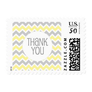Yellow Gray Chevron Thank You stamp