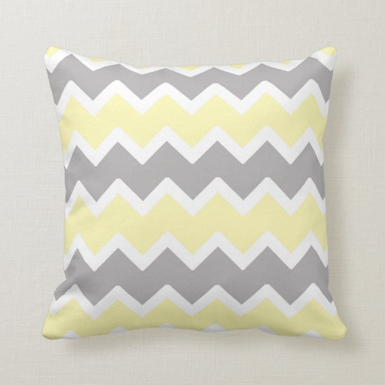 Throw Pillow For Nursery : Yellow Gray Chevron Throw Pillow Nursery Decor Zazzle.com