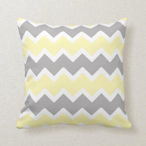 Decorative Throw Pillows Nursery : Yellow Gray Chevron Throw Pillow Nursery Decor Zazzle