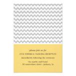 Yellow & Gray Chevron Wedding Reception Cards Invite
