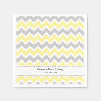 Yellow Gray Chevron wedding reception or party