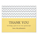 "Yellow & Gray Chevron Wedding Thank You Cards 4.25"" X 5.5"" Invitation Card"