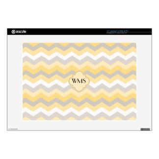 "Yellow/Gray Chevron Zigzag 15"" Laptop Skins"