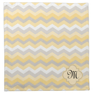 Yellow/Gray Chevron Zigzag Cloth Napkin