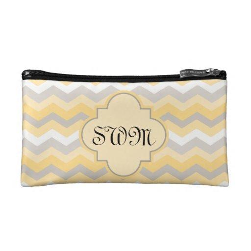 Yellow/Gray Chevron Zigzag Cosmetic Bags