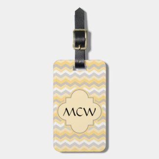 Yellow/Gray Chevron Zigzag Tags For Bags