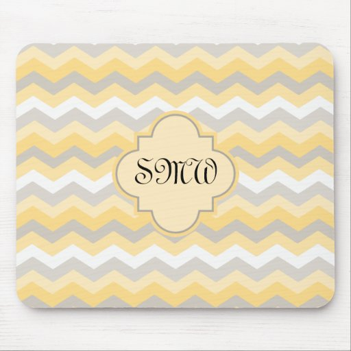 Yellow/Gray Chevron Zigzag Mouse Pads
