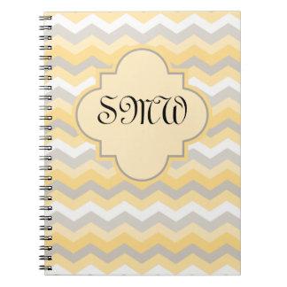 Yellow/Gray Chevron Zigzag Notebooks