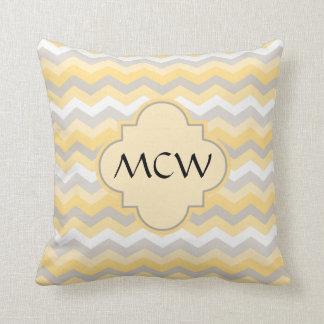 Yellow/Gray Chevron Zigzag Pillow