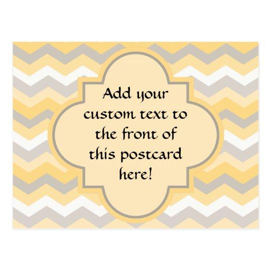 Yellow/Gray Chevron Zigzag Postcard