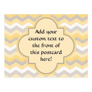 Yellow/Gray Chevron Zigzag Postcards