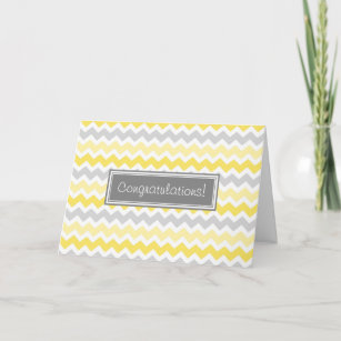 Yellow Gray Chevrons Congratulations on Expecting Card