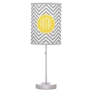 Yellow Gray Chevrons Custom Monogram Desk Lamp
