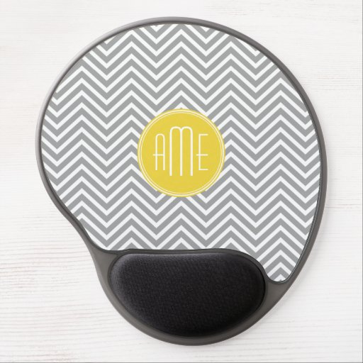 Yellow Gray Chevrons Custom Monogram Gel Mouse Pads