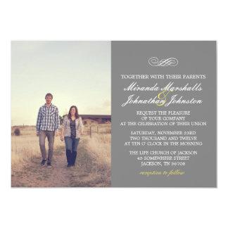 "Yellow & Gray Chic Design Photo Wedding Invitation 5"" X 7"" Invitation Card"