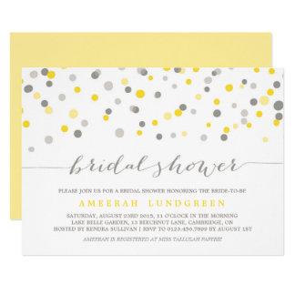Yellow & Gray Confetti Dots Bridal Shower Invite