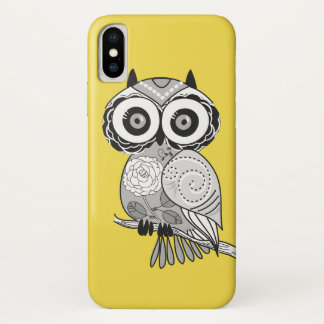 Yellow Gray Cute Hipster Groovy Owl iPhone X Case