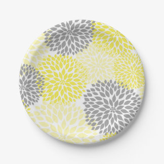 Yellow Gray Dahlia Baby Shower / Bridal plate 7 Inch Paper Plate