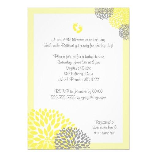Yellow Gray Dahlia Baby Shower Invite with feet