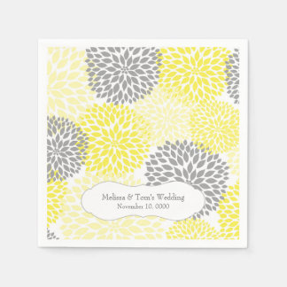 Yellow Gray Dahlia mums / your own wording Paper Napkin