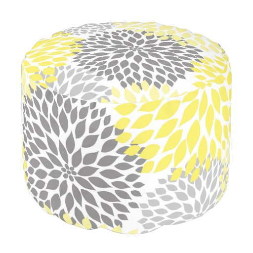 Yellow Gray Dahlias Pouf Extra Seating Or Accent Round