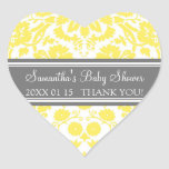 Yellow Gray Damask Baby Shower Favor Stickers