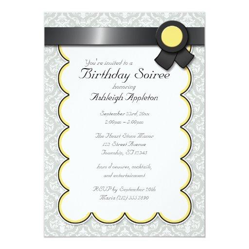 Yellow & Gray Damask Birthday Soiree Invitations