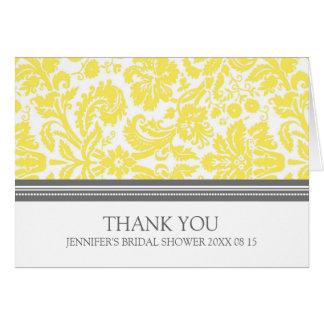 Yellow Gray Damask Bridal Shower Thank You Card