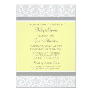Yellow Gray Damask Custom Baby Shower Invitations