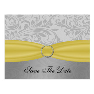 """yellow-gray"" damask Save the date Postcard"