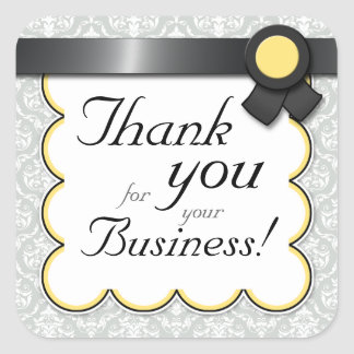 """Yellow & Gray Damask """"Thank you for your Business"""" Square Sticker"""