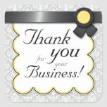 """Yellow & Gray Damask """"Thank you for your Business"""" Sticker"""