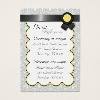 Yellow & Gray Damask Wedding Guest Reference Cards