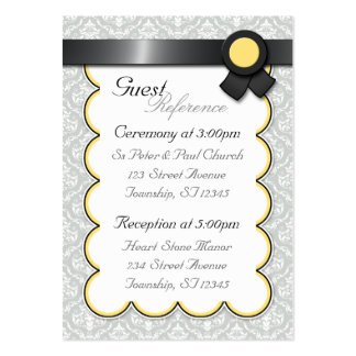 Yellow & Gray Damask Wedding Guest Reference Cards Large Business Cards (Pack Of 100)
