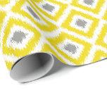 Yellow Gray Diamond Ikat Pattern Gift Wrap Paper