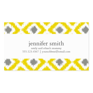 Yellow Gray Diamonds Ikat Pattern Double-Sided Standard Business Cards (Pack Of 100)