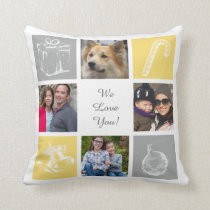 yellow gray eight photos collage custom pillows