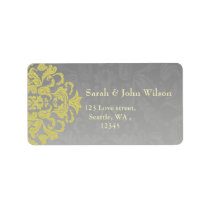 """yellow gray"" elegance return address label"