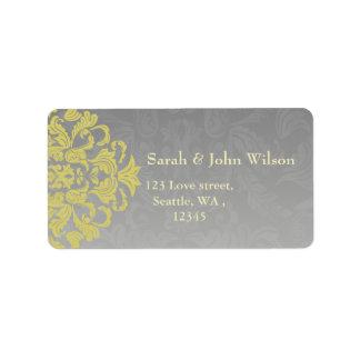 """yellow gray"" elegance return address label"