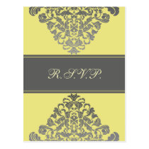 """yellow gray""  elegance RSVP cards"