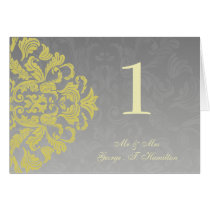 """yellow gray"" Elegant table seating card"