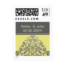 """yellow gray"" elegant wedding stamps"
